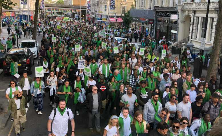 Thousands of people marching in silence for Grenfell, Thursday 14 June. Photo: Shabbir Lakha