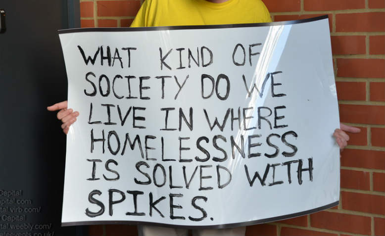 Placard from protest against anti-homeless spikes outside apartments in London, June 2014. Photo: Flickr/See Li