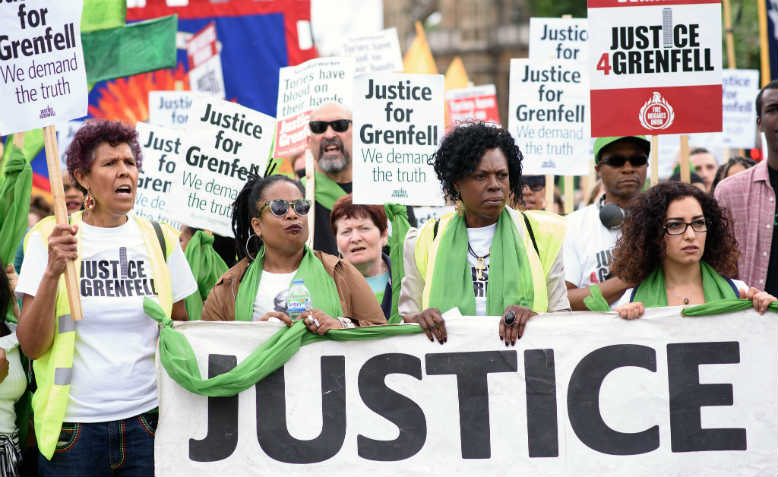 Justice for Grenfell march in London, 16 June 2018. Photo: Jim Aindow