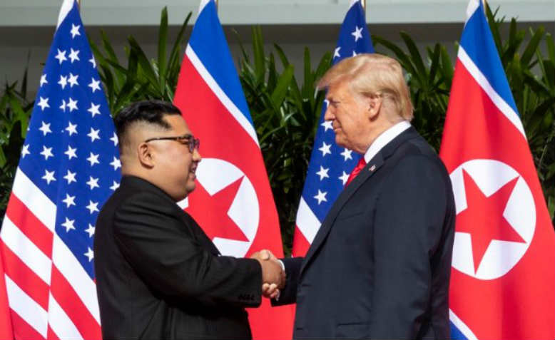 Trump and Kim Jong Un meet in Singapore for the summit. Photo: Public Domain
