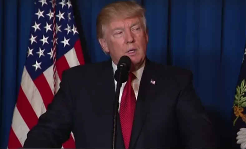 Trump addresses the US nation after authorising missile strikes in Syria, April 2017. Photo: wikimedia commons