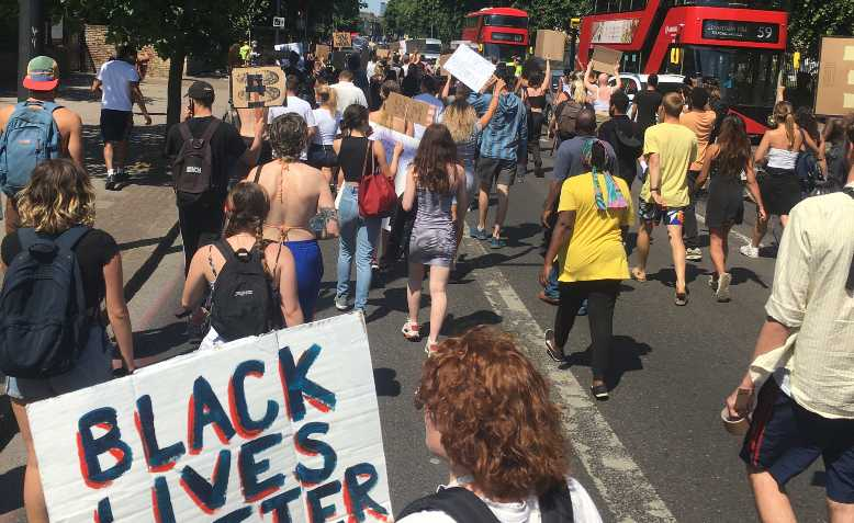 Black lives matter protesters in Brixton, 1 June. Photo: Dave Randall