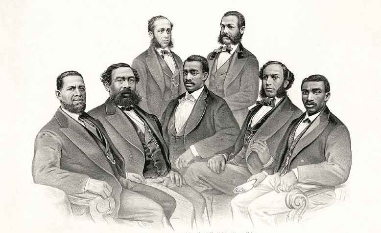 The first black senators and representatives. Photo: Library of Congress