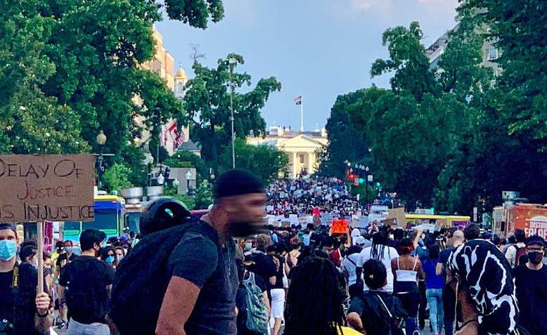 Black lives matter protest, Washington DC, 6 June. Photo: Sarah Govan