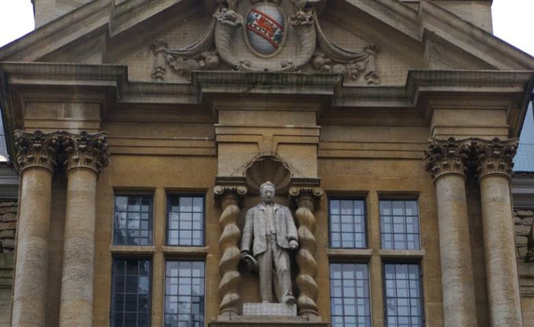 Cecil Rhodes statue, Oxford University. Photo: Geograph