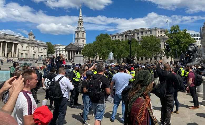 Protestors at Trafalgar Square. Source: Clare Solomon
