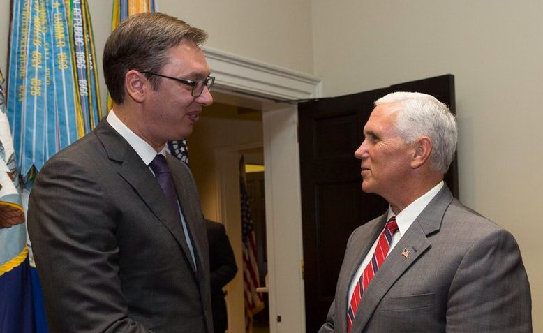 Vucic meets Pence in Washington. Source: Wikipedia