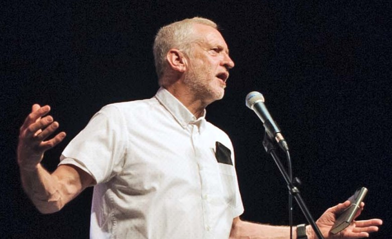Jeremy Corbyn speaking at a 'For the Many' gig in 2017. Photo: Jim Aindow