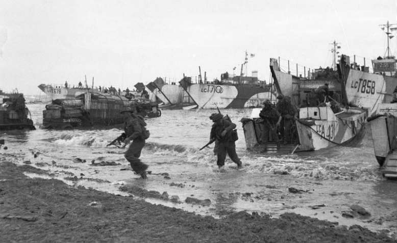 British troops arriving on the shores of Normandy on D-Day. Photo: Wikimedia Commons