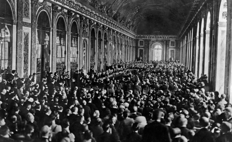 The signing of the Treaty of Versailles