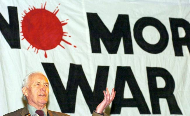 Tony Benn opposing war in 2003. Photograph: PA