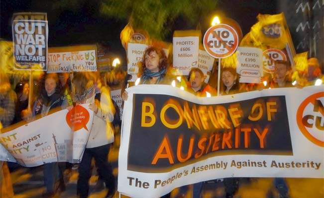 People's Assembly protestors on Westminster Bridge during the Bonfire of Austerity demo