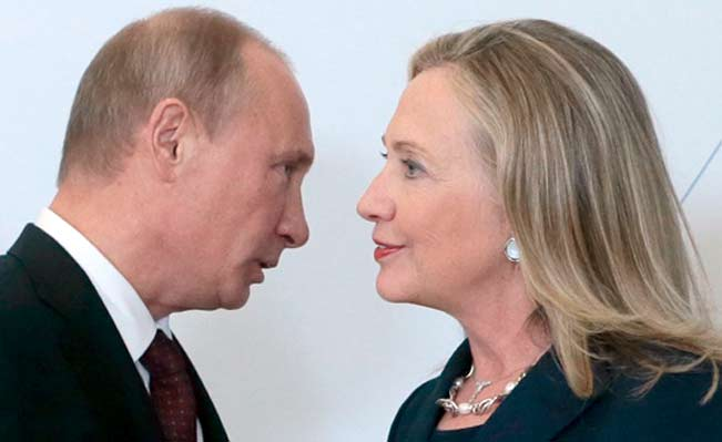 Hilary Clinton and Vladimir Putin