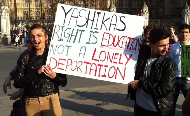 Fellow students protest in Parliament Square