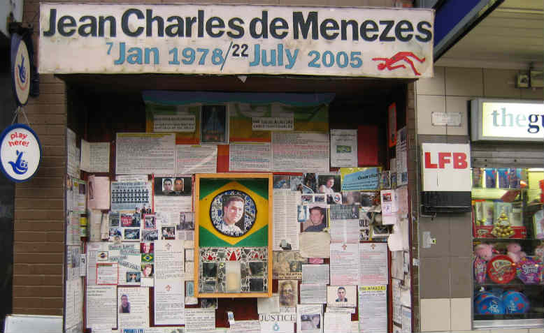 Shrine to Jean Charles de Menezes outside Stockwell Underground Station. Source: Wikipedia