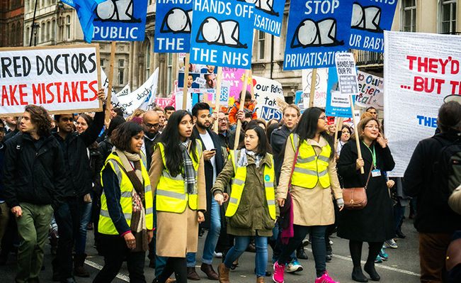 March for the junior doctors against contract imposition. Source: Garry Knight