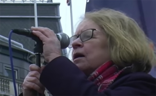 Lindsey German speaks at the Stop Trident demonstration. Source: Paul Hanes