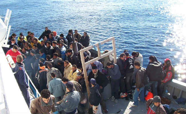 Migrants arrive in Lampedusa.