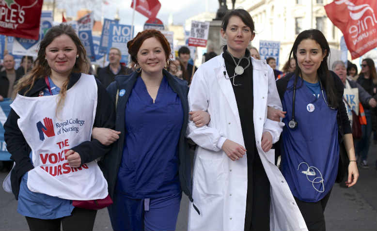 Danielle Tiplady, Jacqui Berry, Aislinn Macklin-Doherty and Mona Ahmed at Our NHS march, 4th March. Photo: David Bailey