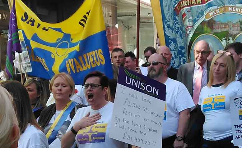Teaching assistant protest in Durham on Saturday 25 March. Photo: Megan Charlton