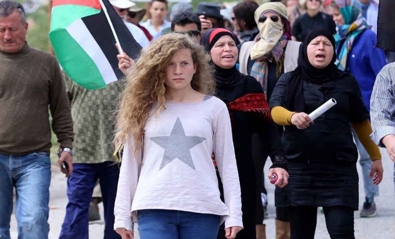 Ahed Tamimi marching in Palestine. Photo: Wikimedia Commons