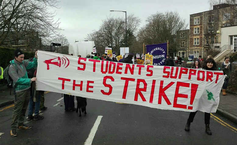 Students in Bristol protest in support of striking lecturers. Photo: Bristol Student-Staff Solidarity