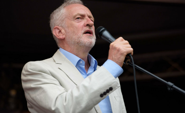 Jeremy Corbyn speaking at the People's Assembly's Not One Day More demonstration, 1st July 2017. Photo: Jim Aindow