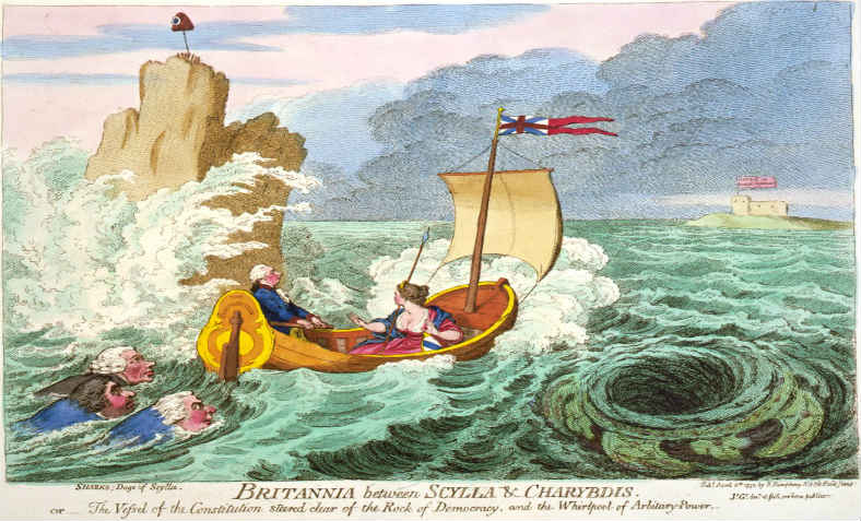 James Gillray, Between Scylla and Charybdis. Image: Wikimedia Commons