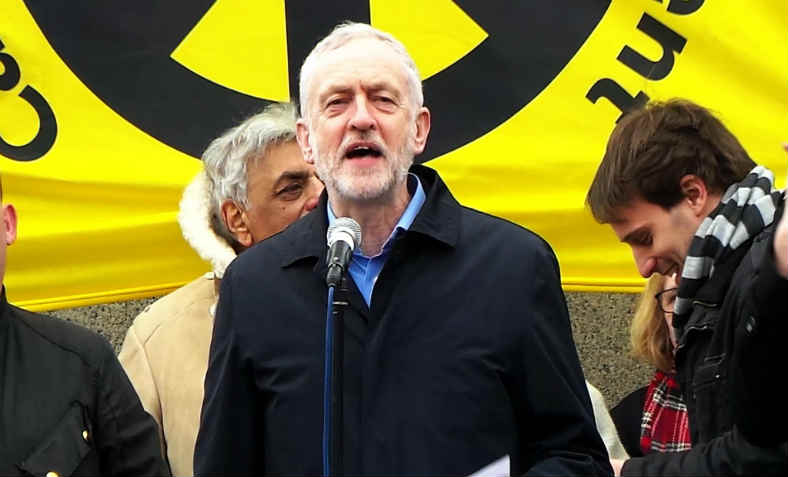 Jeremy Corbyn speaking against Trident. Photo: Garry Knight