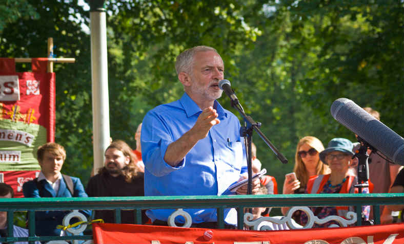 Jeremy Corbyn speaking at rally: Photo: Wikimedia Commons