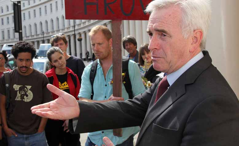 John McDonnell and Residents and supporters of Grow Heathrow outside Central London County Court. Photo: Jonathan Goldberg