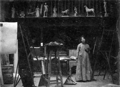 Sylvia Pankhurst the art student in her studio.