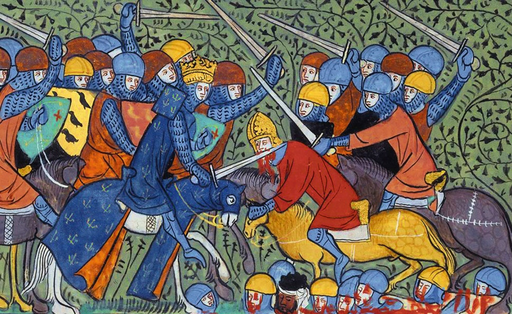medieval depiction of battle