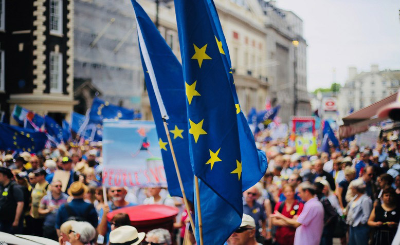 demonstration with EU flags