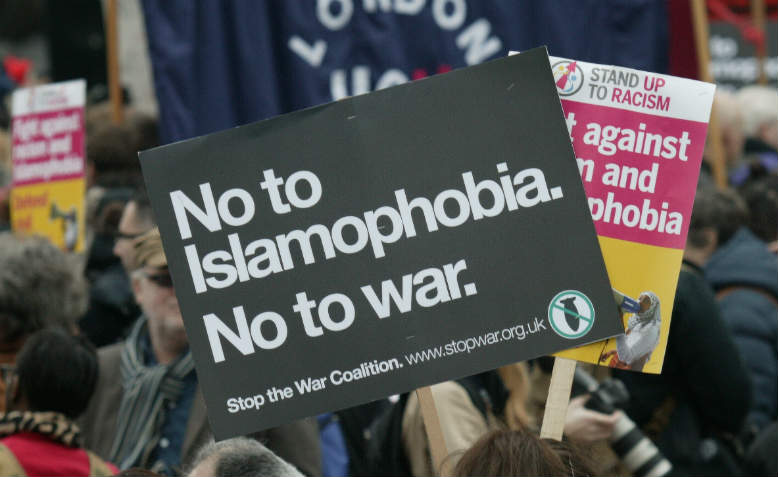"""No to Islamophobia, No to War"" Stop the War Coalition placard. Photo: Pixabay"
