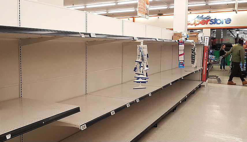 Empty shelves in the toilet paper aisle of an Atlantic Superstore, Halifax, Canada. Source: Wikipedia