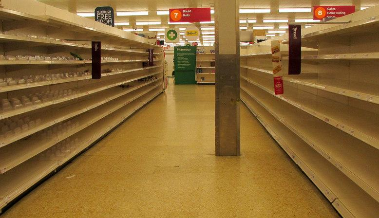 Empty bread aisles in Sainsburys. Source: Geograph.org.uk