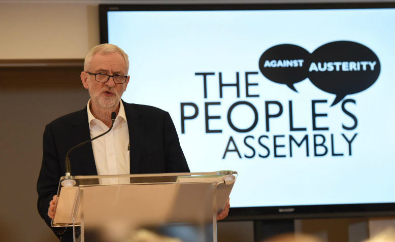 Jeremy Corbyn speaking at The People's Assembly's Big National Watch Party. Photo: Jim Aindow