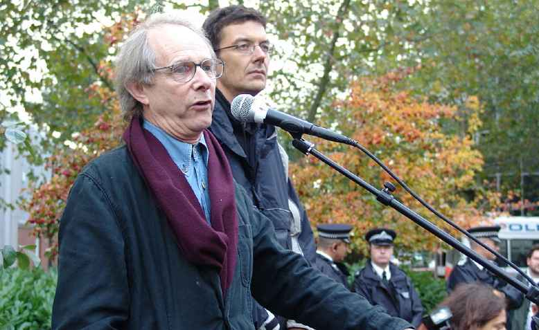 Ken Loach speaks at a rally for low-paid cleaners in London's docklands. Photo: Bryce Edwards
