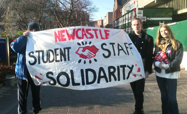 Student-staff solidarity banner at Newcastle University picket line. Photo: Graham Kirkwood