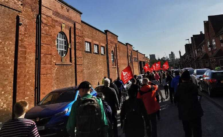 March for the Go North West bus strikers, Cheetam Hill, Manchester