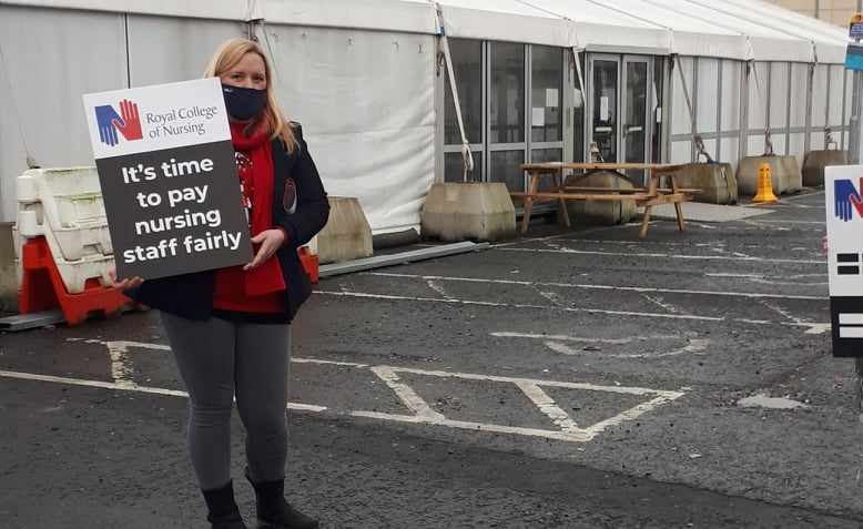 Striking RCN member at the Belfast Royal Victoria Hospital in December 2020.