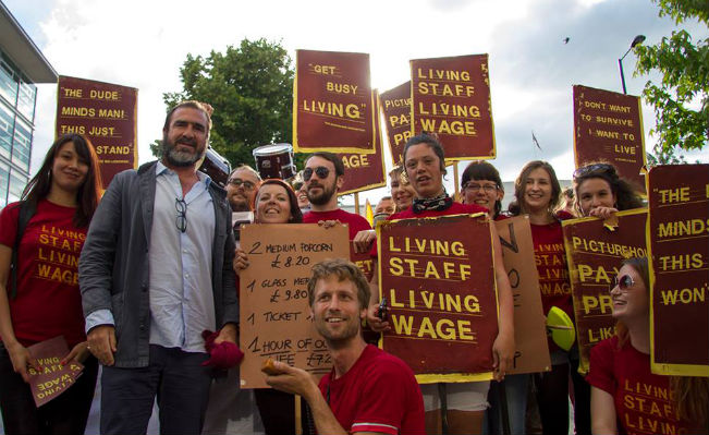 The staff of the Ritzy cinema on their sixth day on strike