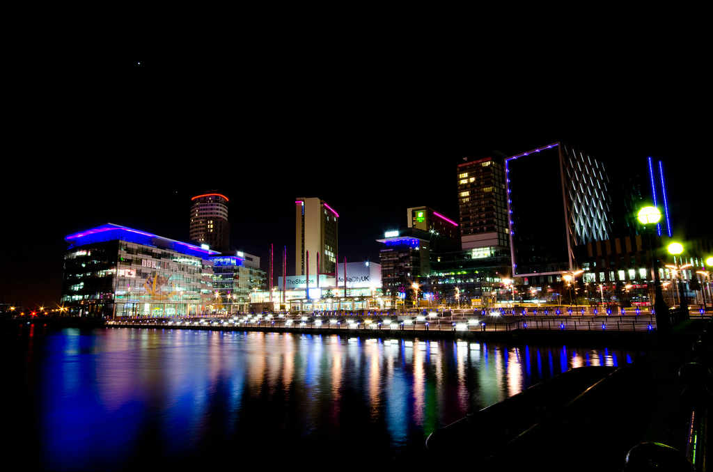 Salford Quays and BBC MediaCity UK by night