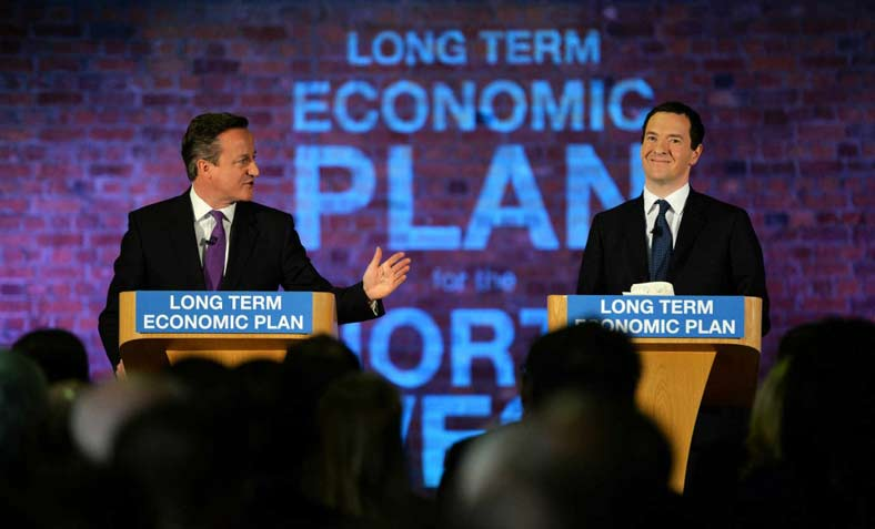 "PM Cameron and Chancellor Osborne introduce ""long term economic plan"" in Manchester in 2015"