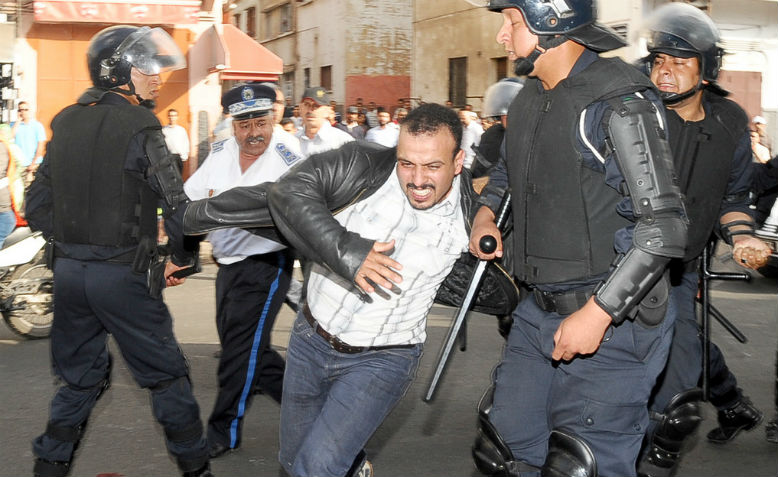 The Moroccan state moving swiftly to break up street protests, Casablanca, 2011