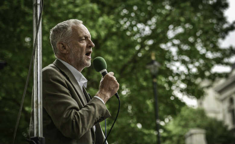 Jeremy Corbyn addressing a People's Assembly mobilisation in 2015