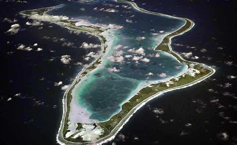 An aerial view of Diego Garcia, one of the Chagos Archipelago's seven atolls