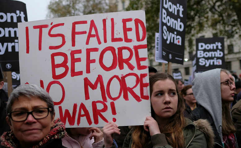 """It's failed before, no more war"" placard from Don't Bomb Syria protest, Westminster, December 2015"