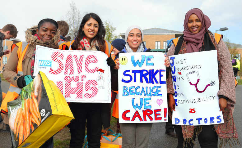 Junior Doctors taking strike action outside Norfolk and Norwich University Hospital in 2016